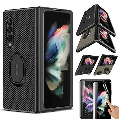 For Samsung Galaxy Z Fold 3 5G Ring Holder Folding Case Cover  Screen Protector
