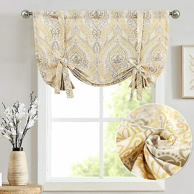 Tie Up Shade Curtains for Kitchen Living Room Rod Pocket Drapes Window 1 Panel