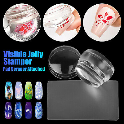 DIY Clear Jelly Silicone Nail Art Stamping Plate Stamper Scraper Manicure Tools