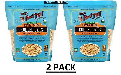 2 PACK - Bobs Red Mill Organic Extra Thick Rolled Oats 32 oz Pkg