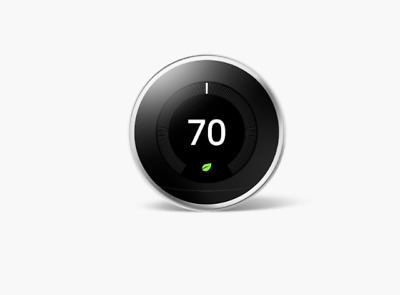Google Nest Programmable Learning Thermostat 3rd Gen - Polished Steel T3019US
