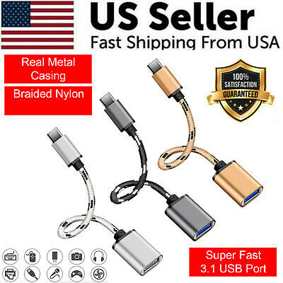 Type C USB-C 3-1 Male To USB 3-0 Type A Female OTG Converter Adapter Cord Cable