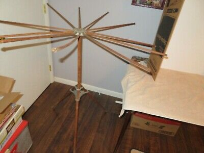 Antique Folding Wooden Spinning Clothes Drying Rack