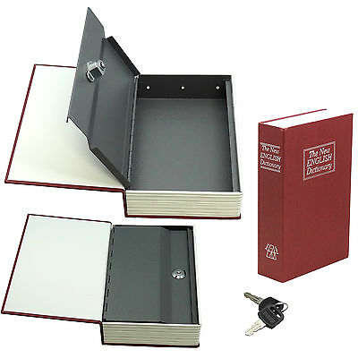 Dictionary Diversion Book Safe w Key Lock  Metal  Red Small