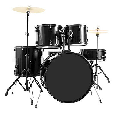 New 5-Piece Full Size Complete Adult Drum Set -Cymbal-Throne Black