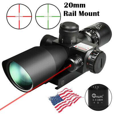 2-5-10x40 Tactical Rifle Scope Red-Green Mil-dot illuminated w Red Laser Mount