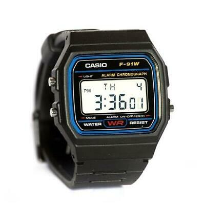 Casio Mens F91W-1 Classic Black Digital Resin Strap Watch