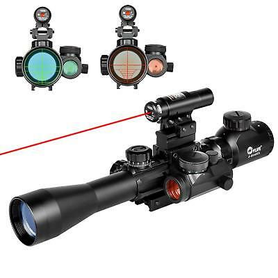 3-9X40 Illuminated Tactical Rifle Scope with Red Laser - Holographic Dot Sight