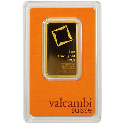 1 Troy oz Valcambi Suisse -9999 Fine Gold Bar Sealed In Assay