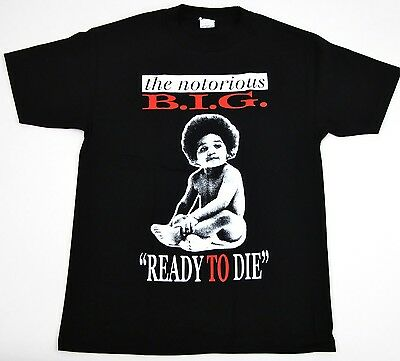 NOTORIOUS B-I-G T-shirt Biggie Smalls Ready To Die Tee Adult SMLXL2XL Black