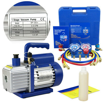Combo 35CFM 14HP Air Vacuum Pump HVAC - R134A Kit AC AC Manifold Gauge Set