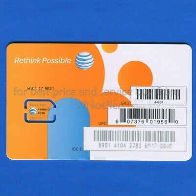 NEW Genuine AT-T Nano Sim Card • supports 4G LTE - 5G • Prepaid or Contract
