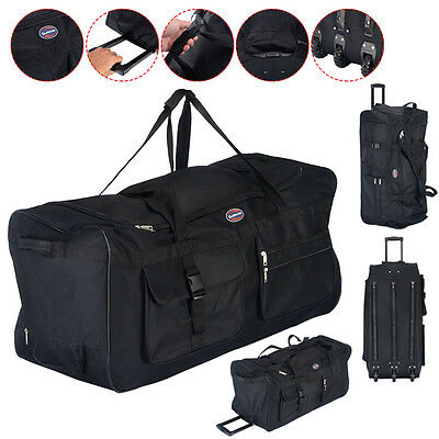 36 Rolling Wheeled Tote Duffle Bag Luggage Travel Duffle Suitcase Black New