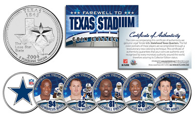 DALLAS COWBOYS 6-Coin TX State US Quarters Set TEXAS STADIUM FAREWELL COLLECTION