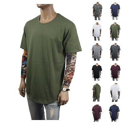 Men T-Shirt Lot Long Extended Basic Fashion Tee Casual Plain Hipster Crew Neck