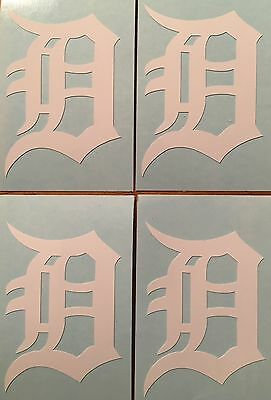 Detroit Tigers Old English D 4 Pack White Decals 1-38x 2FREE SHIPPING