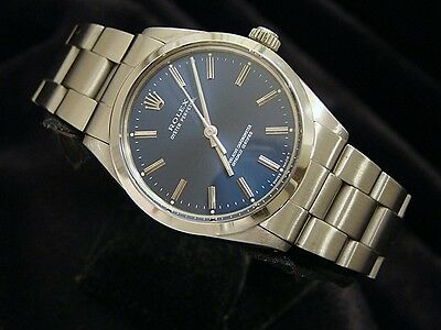 Mens Rolex Stainless Steel Oyster Perpetual Watch wOyster Band - Blue Dial 1002