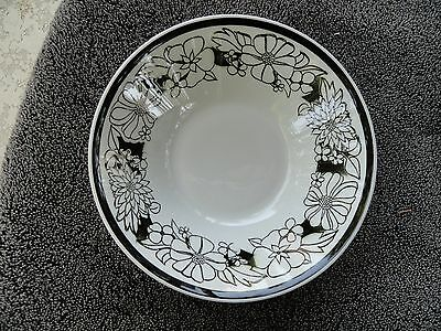 Mikasa Bouquet Black Outline Graphic Flowers White Cereal Bowl