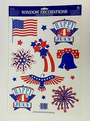 4th of July Window Clings by Amscan Classic Patrotic USA 13 Piece Reusable NIP