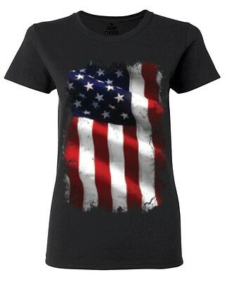 Large American Flag Patriotic Womens T-Shirt 4th of July USA Flag Shirts