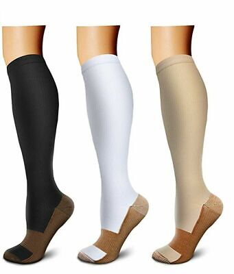3 Pairs Copper Infused Compression Socks 20-30mmHg Graduated Mens Womens S-XXL