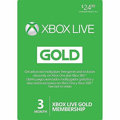 Microsoft Xbox Live Gold 3 Month Membership Region Free Quick Delivery