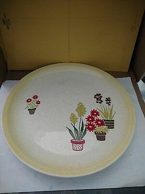 Vintage 1950s 10 Dinner Plate Paden City Pottery Yellow Red Flowers USA