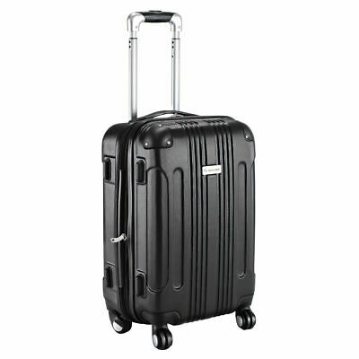 GLOBALWAY Expandable 20 ABS Carry On Luggage Travel Bag Trolley Suitcase Black