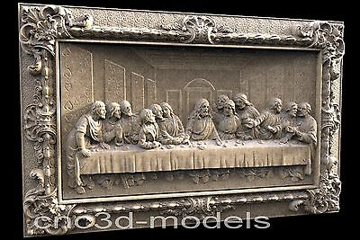 3D Model STL for CNC Router Engraver Carving Artcam Aspire Last Supper Pano 050