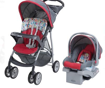 Travel System Recline Stroller Baby Fold Infant Car Seat Toddler Harness Canopy