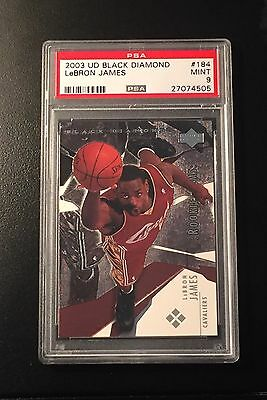 2003-04 UPPER DECK BLACK DIAMOND LEBRON JAMES ROOKIE CARD 184 RC HOF PSA 9 MINT