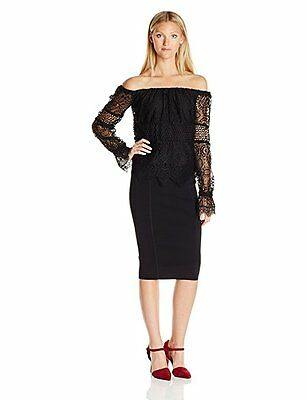 NWT KENDALL - KYLIE Womens Small Black Top Blouse Off Shoulder Lace