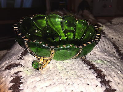Vintage EAPG Green Footed Bowl With Gold Trim And Gold Lined Bottom Bowl