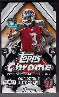 2015 Topps Chrome Football sealed unopened hobby box 24 packs of 4 cards 1 auto