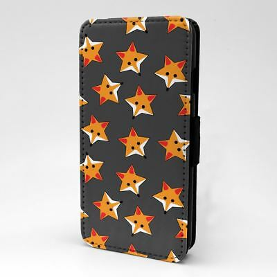 PHONE FLIP CASE COVER FOXES STARS GREY PATTERN S974