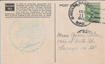 US stamps 1948 Postcard celebrating 100 years of the railroad