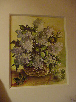 ORIGINAL SIGNED WATERCOLOR PAINTING  HYDRANGEA BASKET - MATTED 14x16