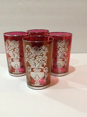 ANTIQUE VICTORIAN CRANBERRY GLASS WITH SILVER OVERLAY SET OF FOUR