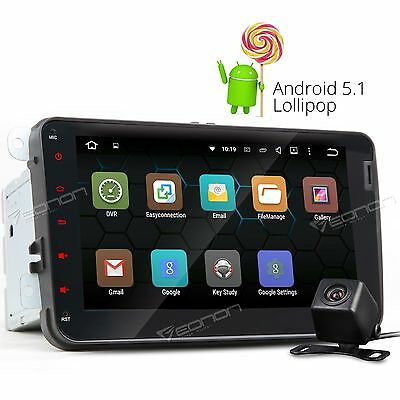 Pure Android 5-1 Lollipop OS 8 2DIN Car Player GPS Radio Stereo for VWE Camera