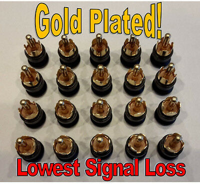 GOLD 20 RCA SHIELDED SHORTING CAPS PLUGS RFEMI NOISE CANCELING DUST PROTECTION