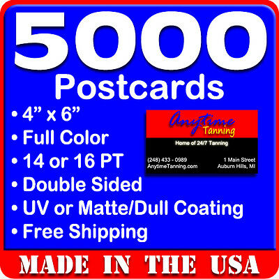 5000 Custom Full Color 4x6 14PT Postcards wUV Glossy - Real Print Free Shipping