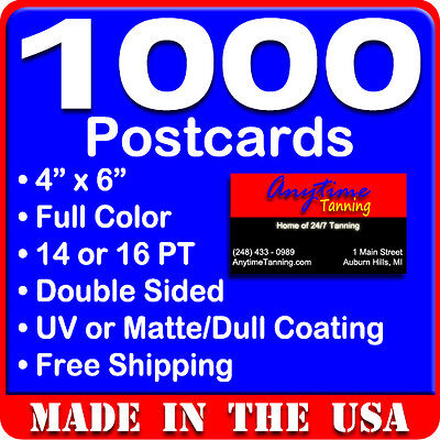 1000 Custom Full Color 4x6 Postcards wUV Glossy - Real Printing - Free Shipping