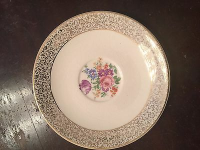 Antique Fine China Paden City Pottery USA Gold Floral Saucer Dish 6 inch