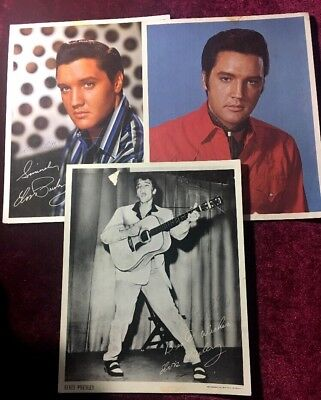 1960s ELVIS PRESLEY RCA RECORDS 3 PROMO PHOTOS 8x10 VINTAGE •INSCRIBED•