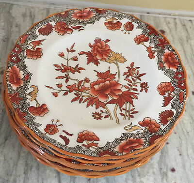 Vintage Copeland Spode Rust Floral Six Bread and Butter Plates