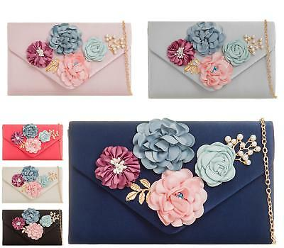 LADIES SMALL FLORAL CLUTCH BAG PEARL ROSE PROM EVENING SATIN WEDDING PARTY BAG