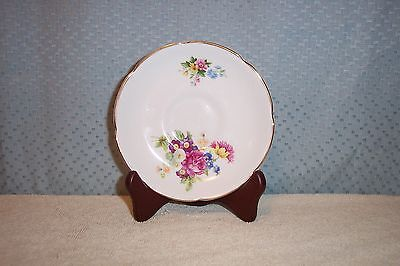 VINTAGE ROYAL GRAFTON  FLORAL BONE CHINA SAUCER ENGLAND MINT