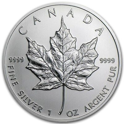 5 Silver Canadian Maple Leaf 1 oz Random Year -9999 Fine Silver Maple Leaf