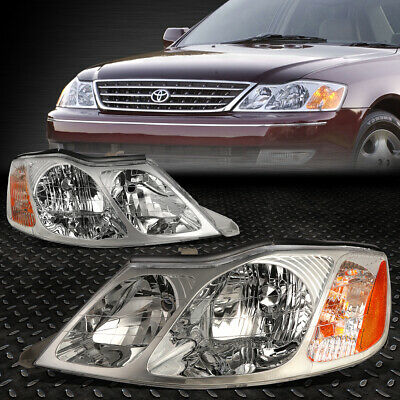 FOR 2000-2004 TOYOTA AVALON PAIR CHROME HOUSING AMBER CORNER HEADLIGHTLAMP SET