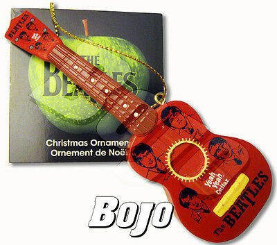 BEATLES BEAUTIFUL PLASTIC YEAH YEAH GUITAR 60S STYLE CHRISTMAS ORNAMENT W  TAG